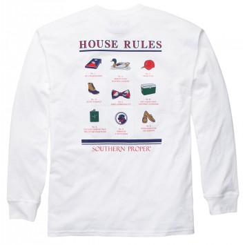 House Rules Tee - White Long Sleeve